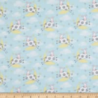 Fabric Editions Playful Cuties 2 Cows 1 Yard Flannel Precut Blue