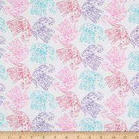 EXCLUSIVE Fabric Editions Never Forget Your Dreams Elephants 1 Yard Precut White