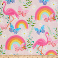 EXCLUSIVE Fabric Editions Flamingo Garden Fun 1 Yard Precut Pink
