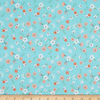 EXCLUSIVE Fabric Editions Aiyana Floral 1 Yard Precut Turquoise