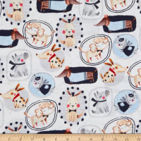 EXCLUSIVE Fabric Editions Dog Show Pictures 1 Yard Precut White