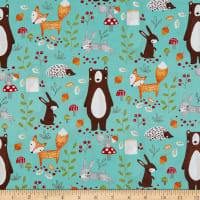 EXCLUSIVE Fabric Editions Forest Friends Everyone 1 Yard Precut Mint