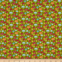 EXCLUSIVE Fabric Editions Forest Friends Mushrooms 1 Yard Precut Green