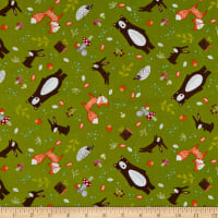 EXCLUSIVE Fabric Editions Forest Friends Allover 1 Yard Precut Green
