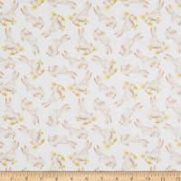 EXCLUSIVE Fabric Editions In the Forest Bunnies 1 Yard Precut White