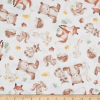 EXCLUSIVE Fabric Editions In the Forest Pals 1 Yard Precut White