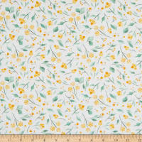 EXCLUSIVE Fabric Editions In the Forest Floral 1 Yard Precut White