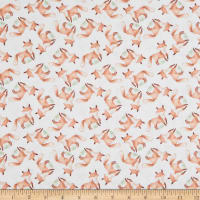 EXCLUSIVE Fabric Editions In the Forest Foxes 1 Yard Precut White
