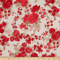 EXCLUSIVE Fabric Editions Country Farmhouse Floral 1 Yard Precut Red