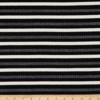 Designer Deadstock Striped Design Metallic Ribbed Stretch Knit White/Charcoal/Black