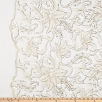 Chenille Mesh Embroidery Floral Ivory Gold