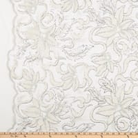 Chenille Mesh Embroidery Floral White Silver