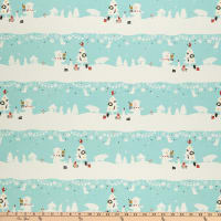 Cotton+Steel Waku Waku Christmas Mr. Polar Bear Aqua