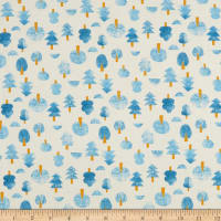 Cotton+Steel Neko and Tori Tiny Trees Unbleached Blue