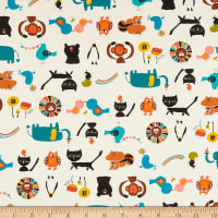 Cotton+Steel Kawaii Nakama Animal Parade Cream