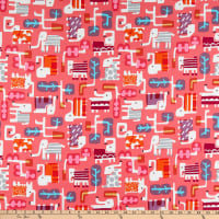 Cotton+Steel Safari Elephant Walk Coral