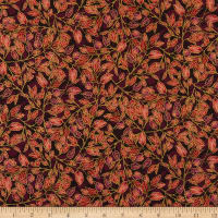 RJR Shades of Autumn Dancing Leaves Metallic Mulberry