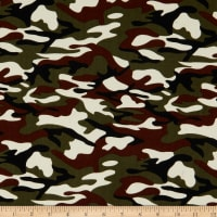 Fabric Merchants 21 Pinwale Corduroy Camouflage Print Army/Beige/Brown