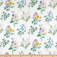 Liberty Fabrics Challis Floral Academy White/Green/Yellow