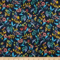 Liberty Fabrics Viscose Stretch Jersey Knit Bitter Sweet Dark Blue/Yellow/Red