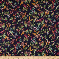 Liberty Fabrics Viscose Stretch Jersey Knit Bitter Sweet Dark Blue/Orange/Green
