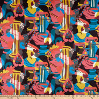 Liberty Fabrics Viscose Stretch Jersey Knit Curation Dark Blue/Yellow/Pink