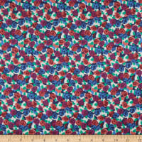 Liberty Fabrics Viscose Stretch Jersey Knit Stone Rose Blue/Red/Green
