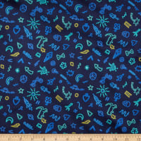Liberty Fabrics Viscose Stretch Jersey Knit Neon Pop Dark Blue/Blue/Yellow