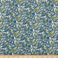 Liberty Fabrics Viscose Satin Winston Blue/Green/White