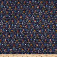 Liberty Fabrics Viscose Satin Angeli Dark Blue/Yellow/Orange