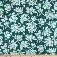Liberty Fabrics Viscose Satin Luna Lotus Blue/White/Green