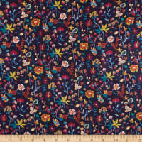 Liberty Fabrics Viscose Satin Botanist's Diary Purple/Yellow/Pink