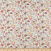Liberty Fabrics Viscose Satin Botanist's Diary Off White/Pink/Green