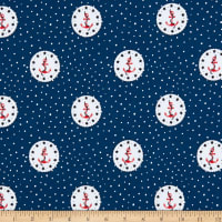 Fabtrends Cotton Stretch Jersey Knit Ankers Clock Star Navy