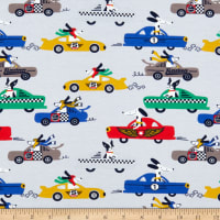Fabtrends Cotton Jersey Knit Dogs & Race Car Rally Grey