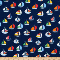 Fabtrends Cotton Jersey Knit Sail Boat Navy