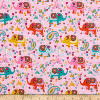 Fabtrends Cotton Jersey Knit Elephant Floral Pink