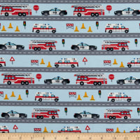 Fabtrends Cotton Jersey Knit First Responders Vehicles Blue