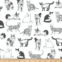 Timeless Treasures Pet Sketch Realistic Cats White