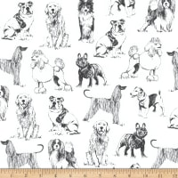 Timeless Treasures Pet Sketch Realistic Dogs White