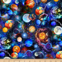 Timeless Treasures Digital Math & Science Funky Outerspace Multi