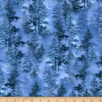 Timeless Treasures Lakeside Cabin Trees & Crescent Moons Blue