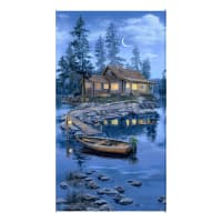 "Timeless Treasures Lakeside Cabin Cabin On A Lake 24"" Panel Blue"