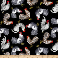 Timeless Treasures French Country Chickens Black