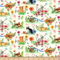 Dear Stella Digital Catitude Garden Cats Cream