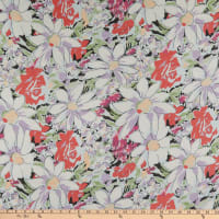 Silk Georgette Blooming Flower White Lilac
