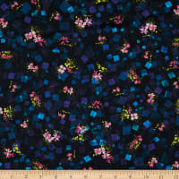Kaufman Digital Bright Side Lawns Squares And Flowers Midnight