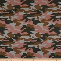 Fabric Merchants Cotton Duck Camouflage Dusty Rose/Grey/Brown