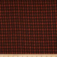 Fabric Merchants Wool Blend Woven Houndstooth Check Orange/Brown