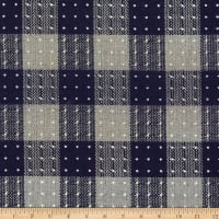 Fabric Merchants Wool Blend Woven Dotted Check Grey/Navy/White